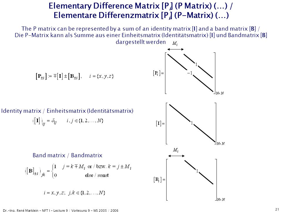 Elementary Difference Matrix [Pi] (P Matrix) (…) / Elementare Differenzmatrix [Pi] (P-Matrix) (…)